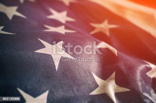 Close up of an American flag. Selective focus.