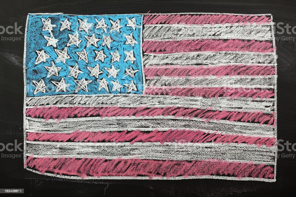 American Flag Red, White, and Blue Chalk Drawing on Blackboard stock photo
