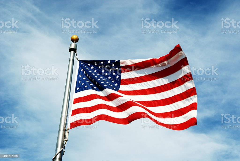 American flag red white and blue stock photo