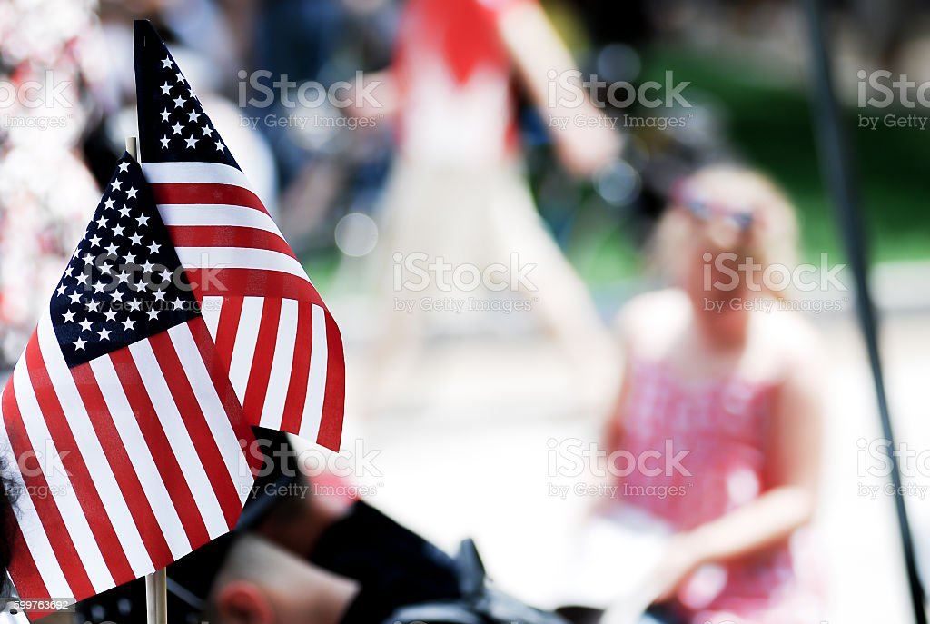 American flag show on 4th of july parade stock photo