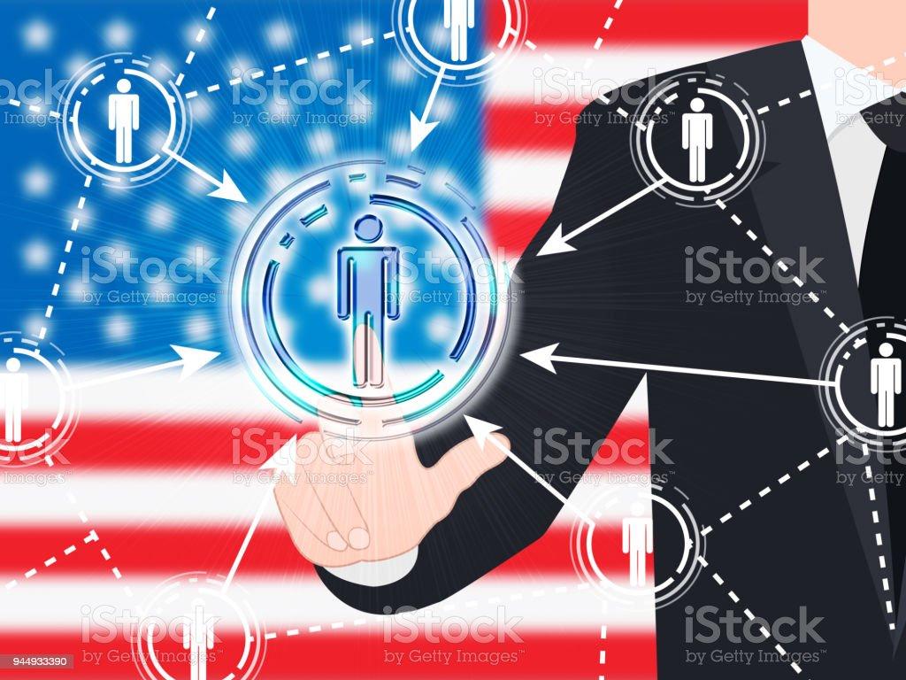 American Flag Social Media Button 3d Illustration stock photo