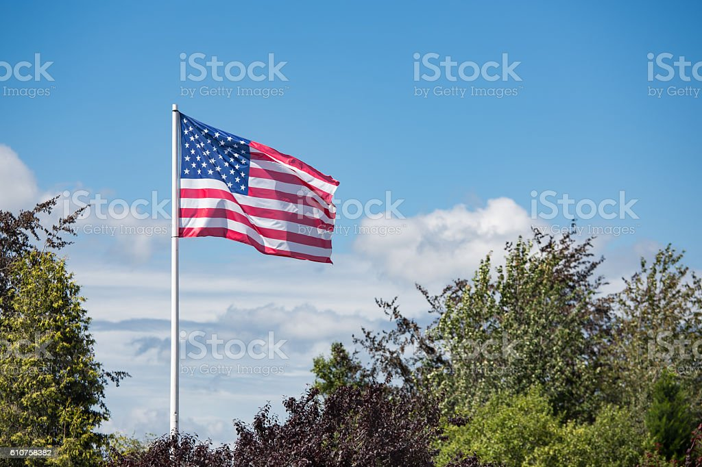 American flag Stars and Stripes blowing in the wind stock photo