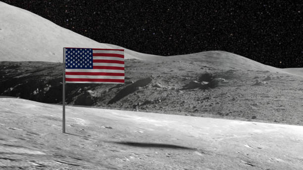 American flag stuck in the rocky moon surface with stars stock photo