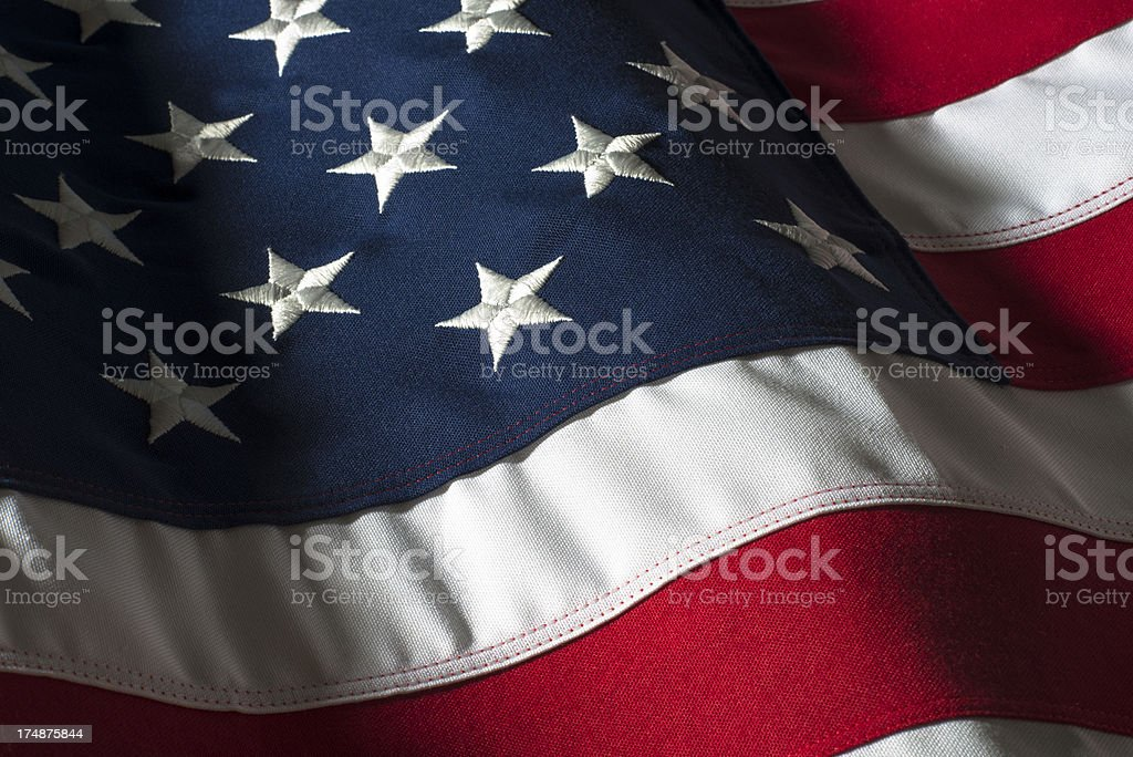 American Flag Studio Shot Close Up Waving stock photo