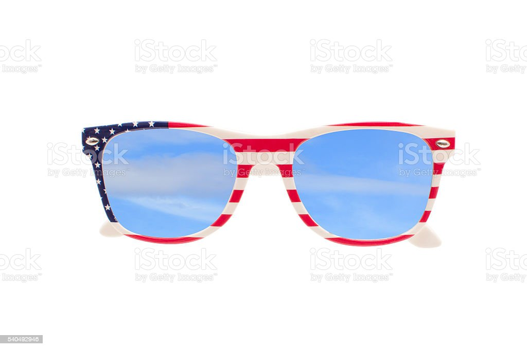 American Flag Sunglasses Blue Sky Clouds stock photo