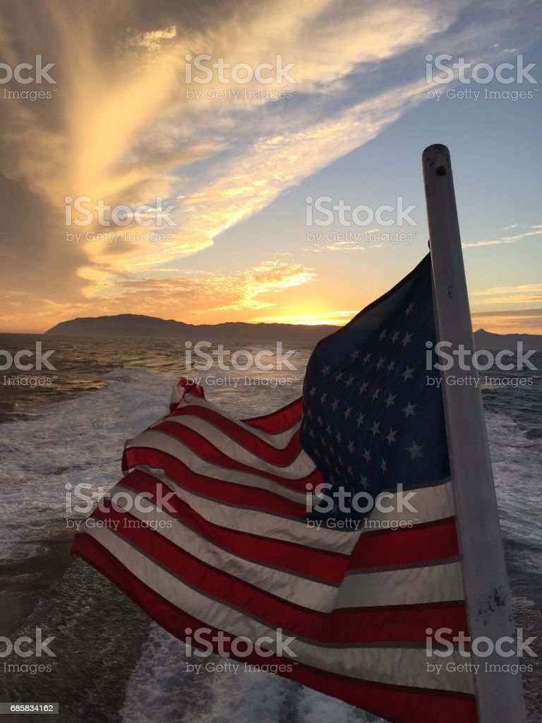American flag sunset over Catalina Island stock photo