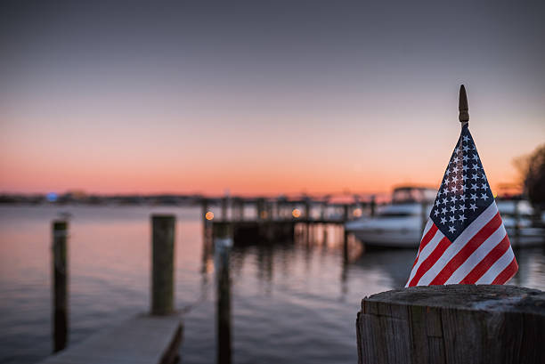 American Flag Sunset stock photo
