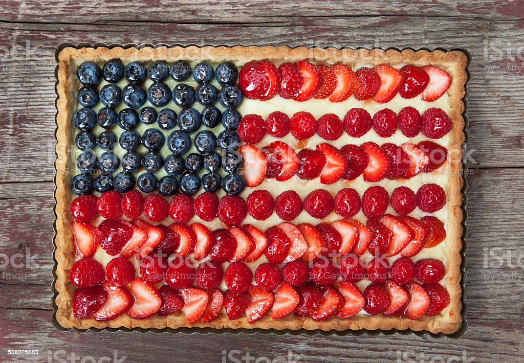 American Flag Tart with Fresh Berries and Pastry Cream. stock photo