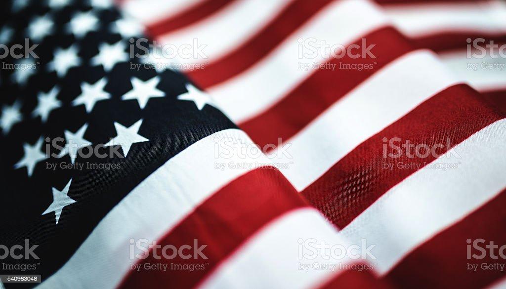 Bandeira americana close-up têxtil - foto de acervo