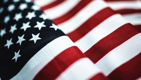 Bandiera Americana In Tessuto Primo Piano - Fotografie stock e altre immagini di 4 Luglio