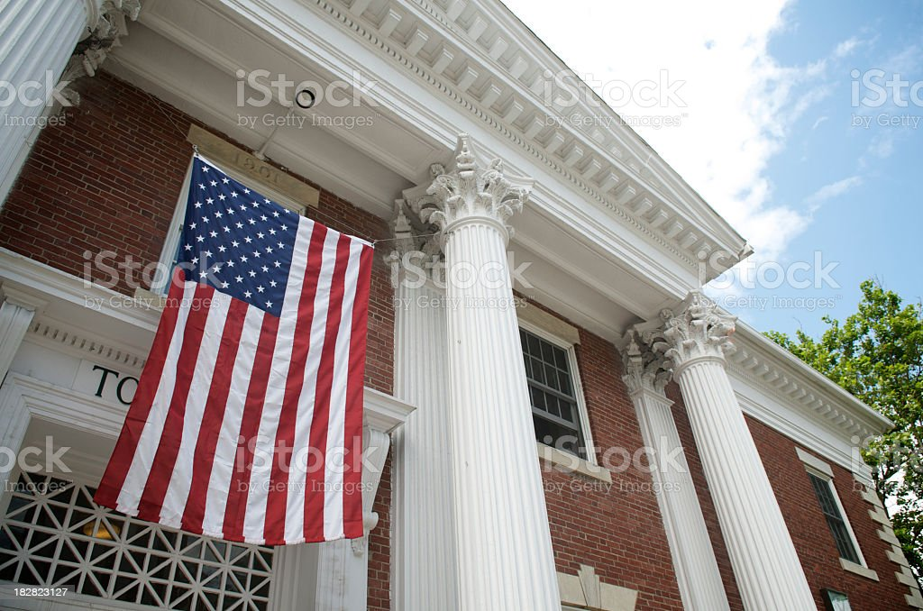 American Flag Traditional Town Hall Building stock photo