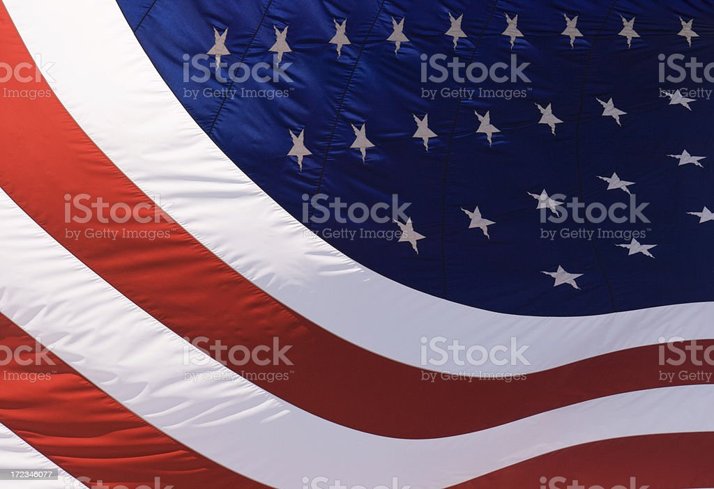 American Flag, United States National Banner Curved, Waving in Wind royalty-free stock photo
