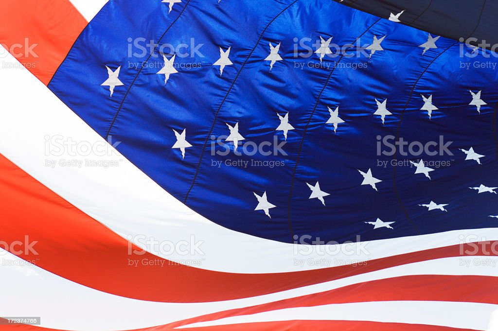 American Flag, United States National Banner Stars and Stripes Waving royalty-free stock photo