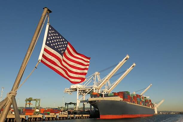 American flag US port container ship symbols economy industry pride stock photo