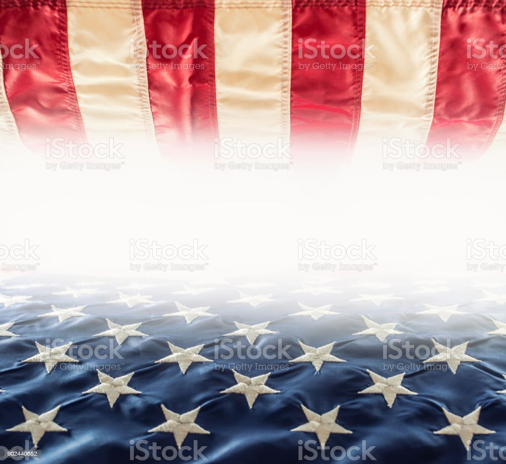 American flag. Usa Flag. Abstract perspective background of stripes and strars with american symbol -  Flag. Free space for 4th july indenpendence veterans day and other holidays stock photo