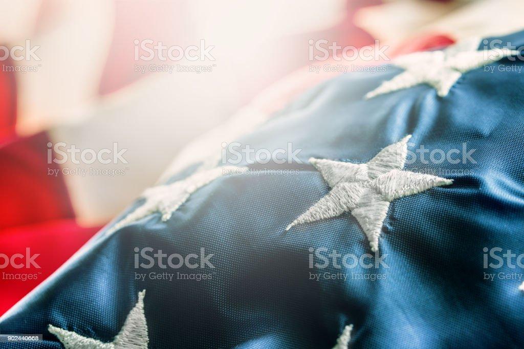 Amerikanische Flagge. USA-Flagge. Abstrakte Perspektive Hintergrund Streifen und Strars mit amerikanisches Symbol - Flagge – Foto