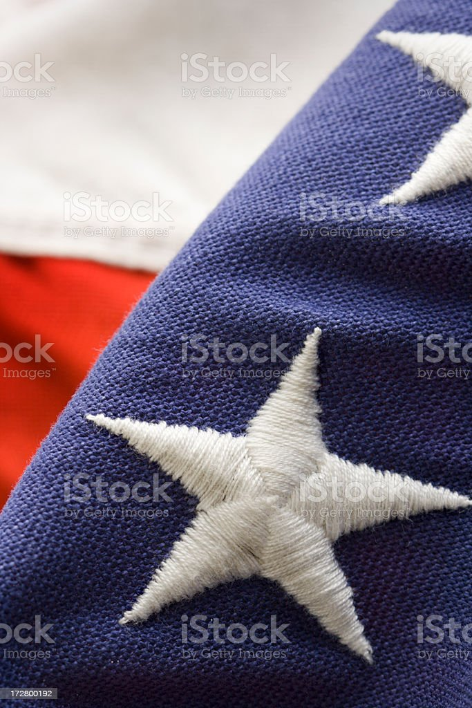 American Flag, USA Stars and Stripes Embroidery, Sewn Fabric Close-up royalty-free stock photo