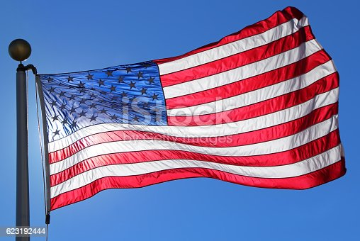 537898300istockphoto American flag waving in blue clear sky 623192444