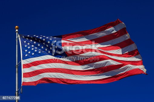 947881968istockphoto American flag waving in clear blue sky 627427298