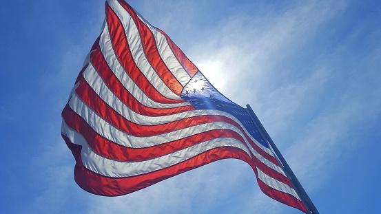 American Flag Waving in the Iowa Wind