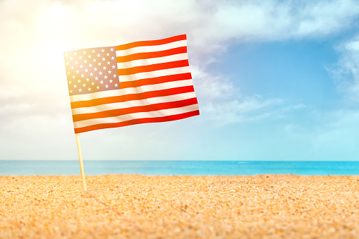 483422527 istock photo American flag waving in the sand on the beach 1195561824