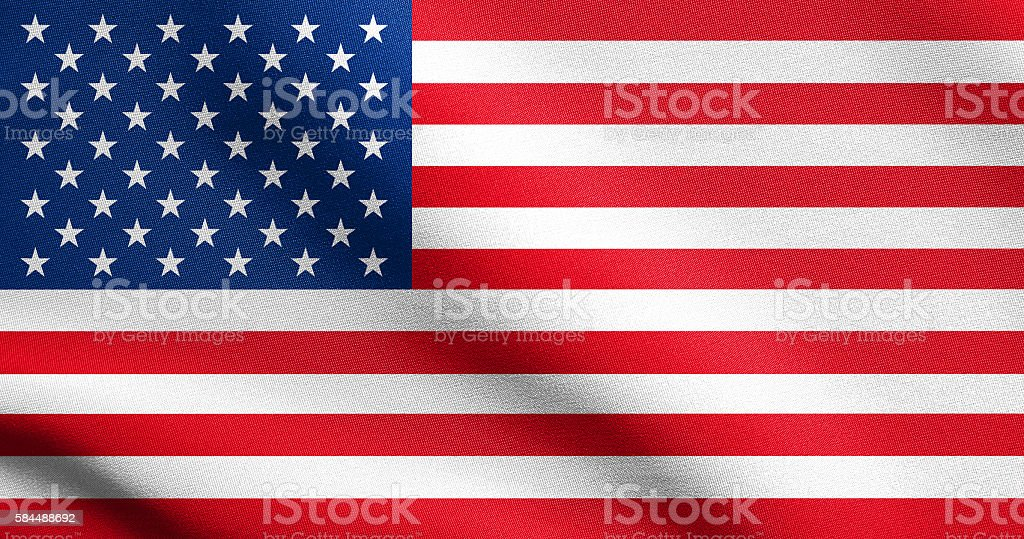 American flag waving in wind with fabric texture stock photo