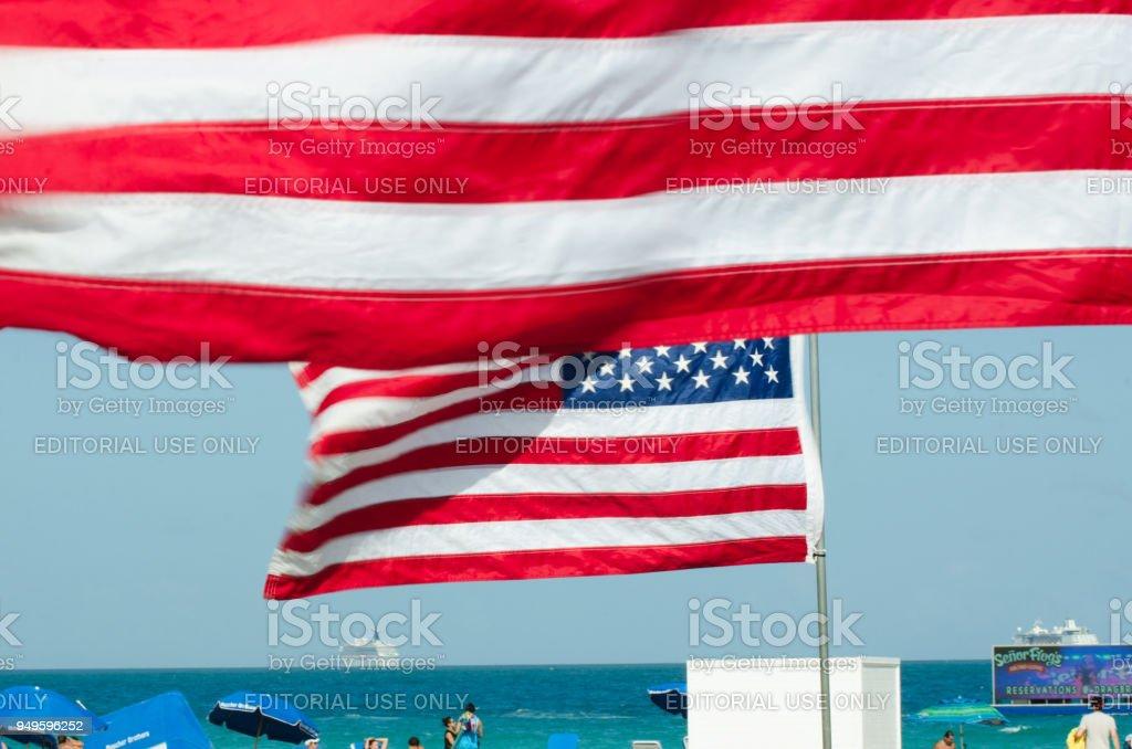 American Flag Waving on South Beach Miami Florida USA stock photo