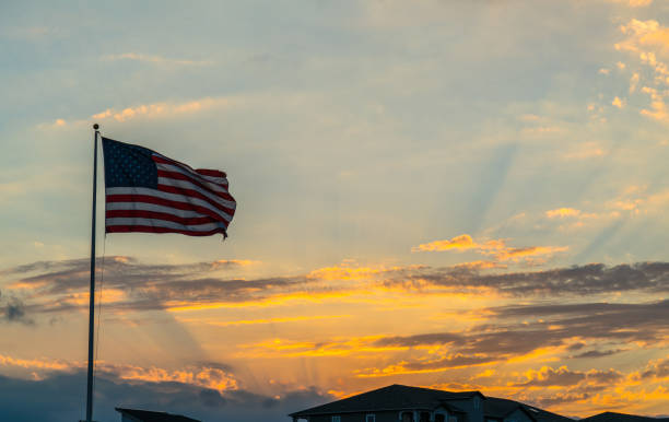 American Flag waving right after Sunset stock photo