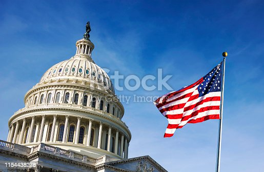 istock American flag waving with the Capitol Hill 1154438278