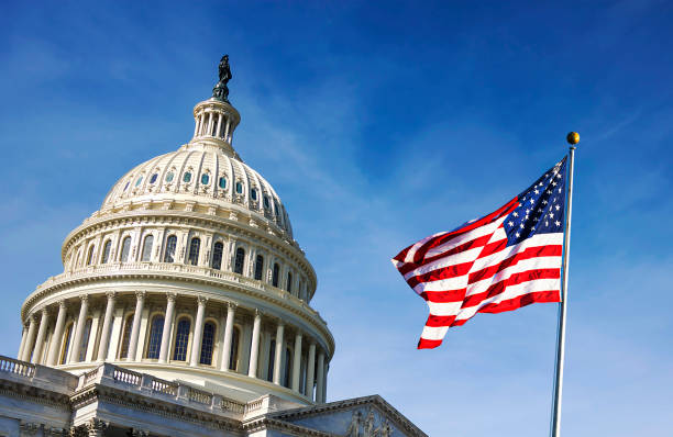 American flag waving with the Capitol Hill American flag waving with the Capitol Hill in the background state capitol building stock pictures, royalty-free photos & images