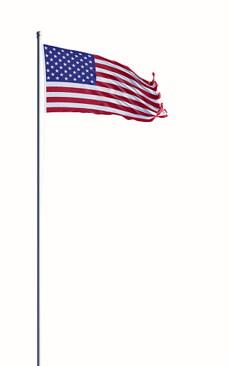 High quality 3d render of an American flag waving with wind on white background. Clipping path is included. Great use for American politics and American culture related concepts. Vertical composition.