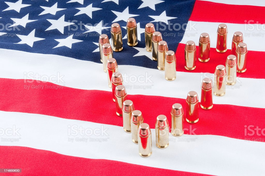 American Flag with 40 caliber bullets royalty-free stock photo