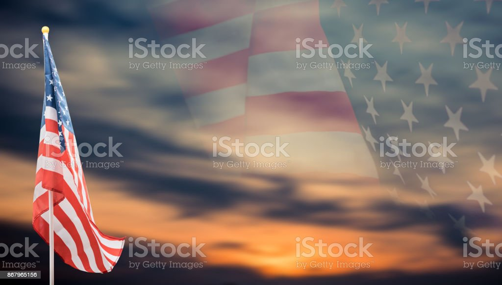 American Flag with background stock photo