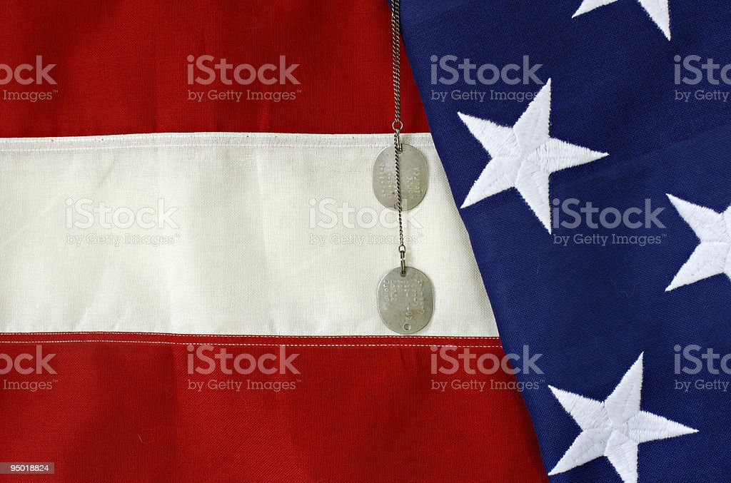 American Flag with Dog Tags royalty-free stock photo
