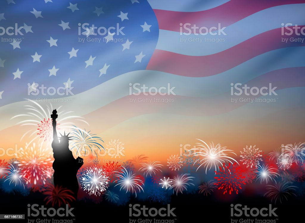 American flag with fireworks at twilight background design for 4 july independence day or other celebration stock photo