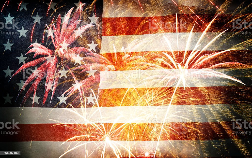 American Flag With Fireworks – Grunge Style stock photo