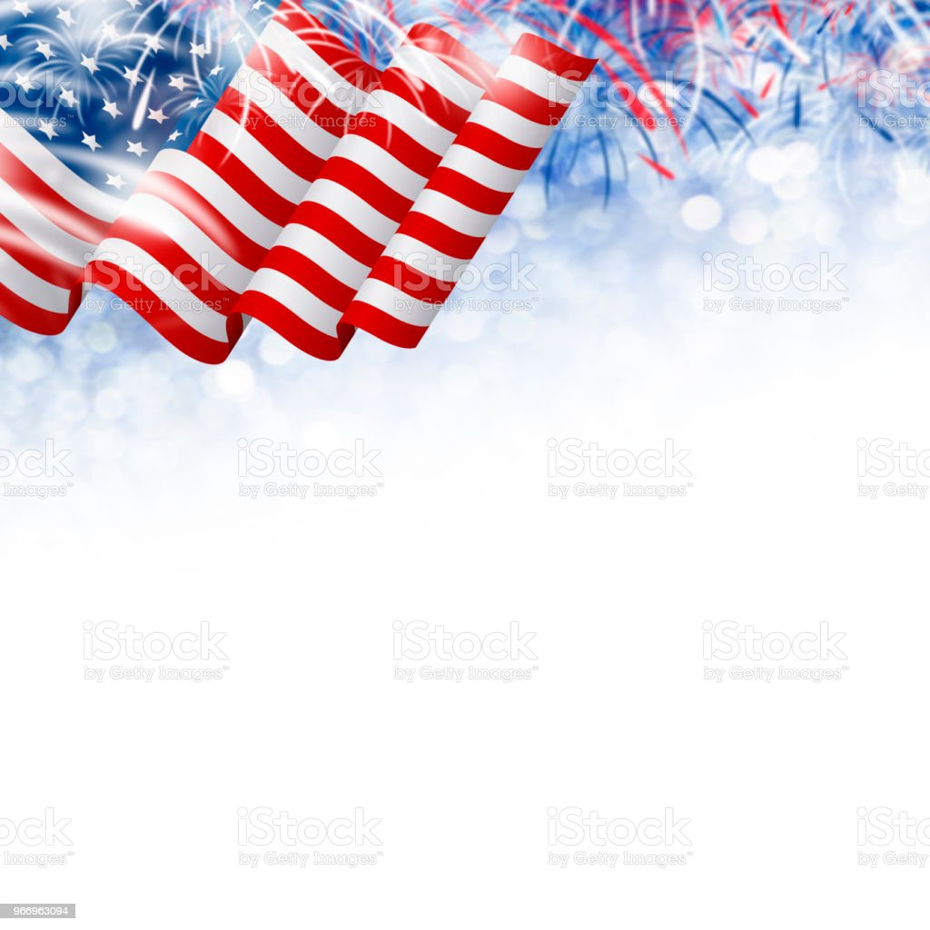 American flag with fireworks on bokeh background USA 4th july independence day and other celebration stock photo