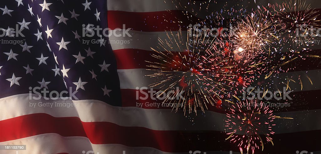 American Flag with Fireworks royalty-free stock photo