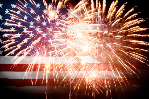 182764873 istock photo American Flag With Fireworks 499248631