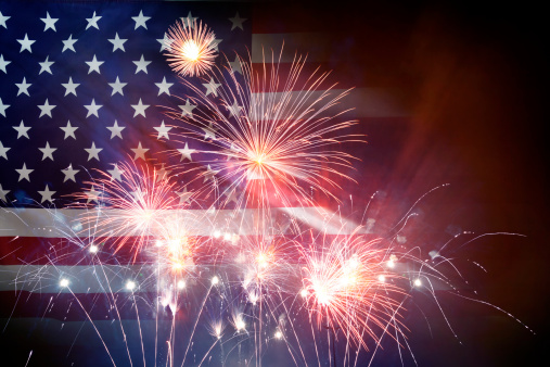 182764873 istock photo American Flag With Fireworks 499248633