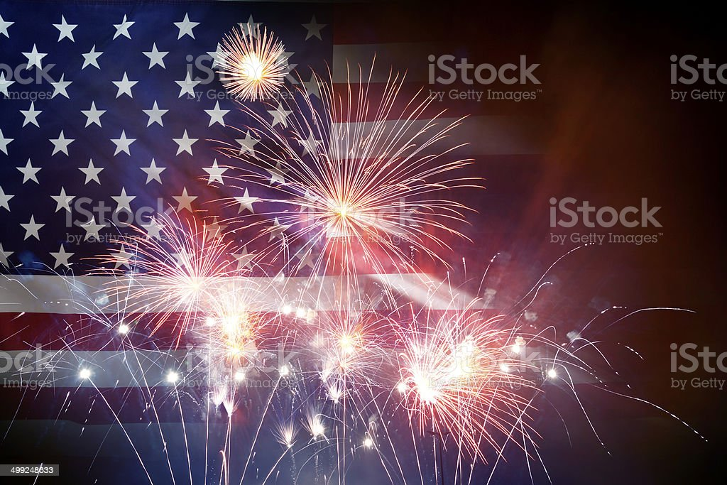 American Flag With Fireworks stock photo