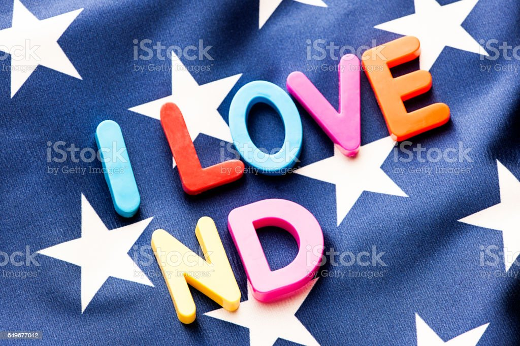 American Flag With I Love Nd Word Stock Photo Download Image Now