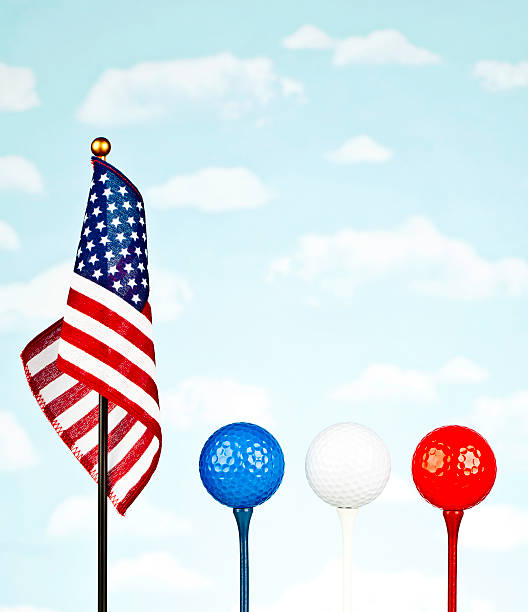 American Flag with Red, White and Blue Golf Balls stock photo