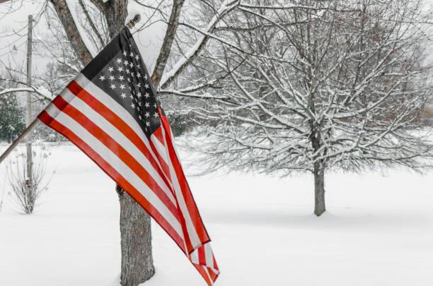 bandeira americana com fundo de neve - presidents day - fotografias e filmes do acervo