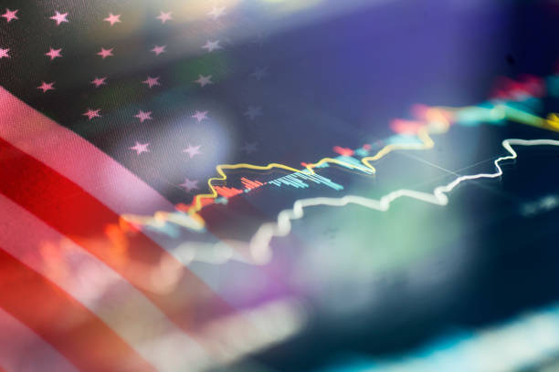 american flag with stock trend - interest rate stock photos and pictures