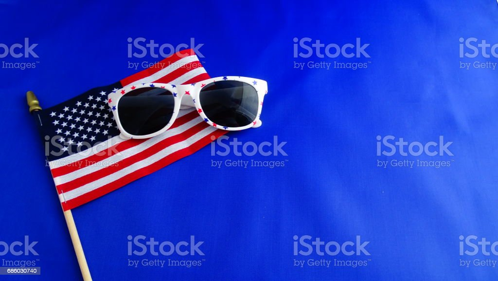 American flag with sunglasses. stock photo