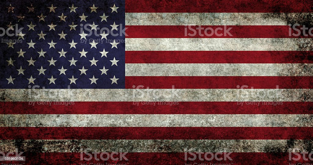 American flag with super grunge texture stock photo