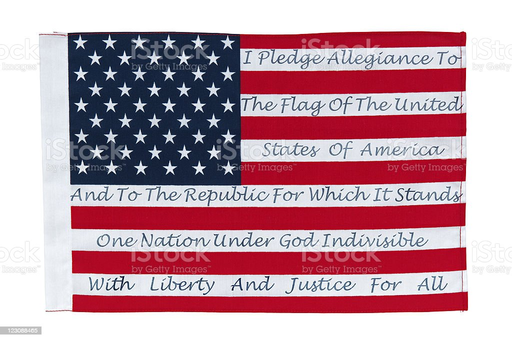 American Flag With The Pledge Of Allegiance stock photo