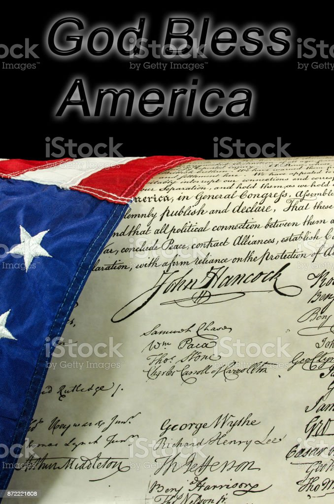 American flag with the words God Bless America stock photo