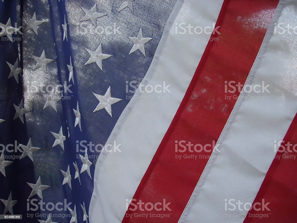 American Flag with Trees stock photo
